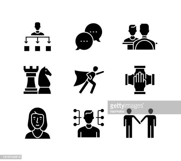zusammenarbeit verwandte vektorlinie icons. umrisssymbol-sammlung und designelemente - fokusgruppe stock-grafiken, -clipart, -cartoons und -symbole