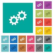 Collaboration square flat multi colored icons