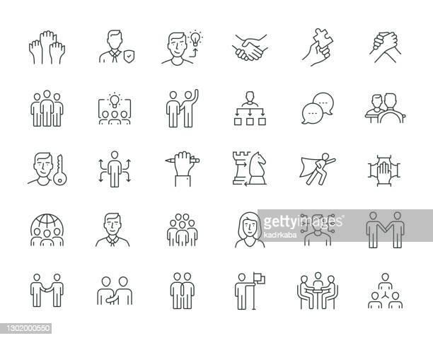 collaboration thin line serie - fokusgruppe stock-grafiken, -clipart, -cartoons und -symbole