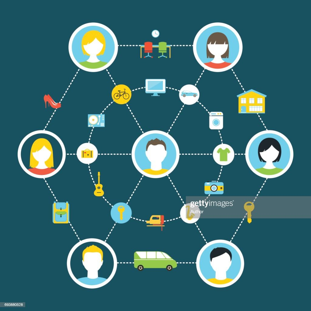 Collaborative Consumption and Shared Economy Concept Illustration