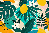 Collage contemporary floral seamless pattern. Modern exotic jungle fruits and plants illustration vector.