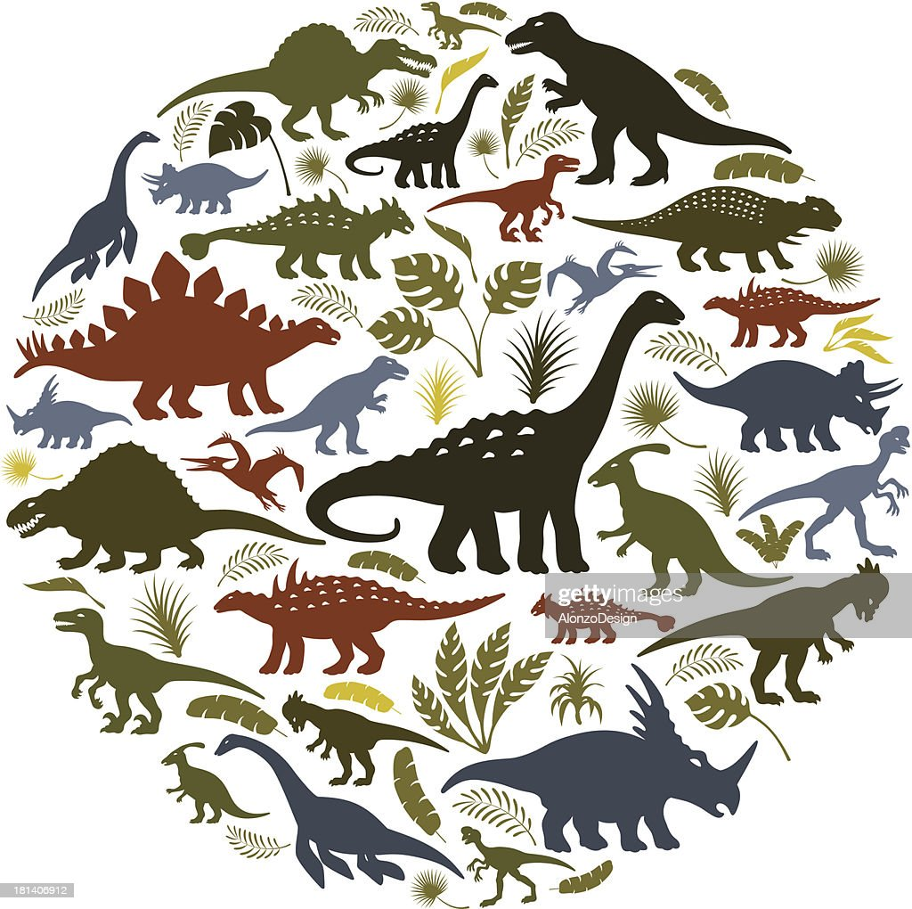 Collage of dinosaur icons in a circle