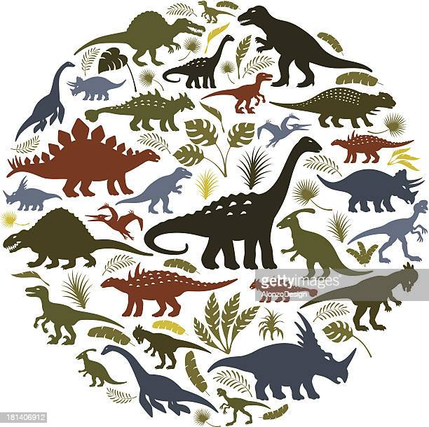 collage of dinosaur icons in a circle - jurassic stock illustrations, clip art, cartoons, & icons