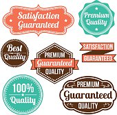 Collage of eight vintage label signs on a white background