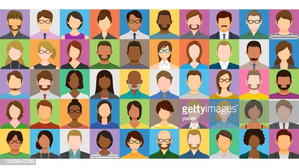collage of multiethnic people - headshot stock illustrations