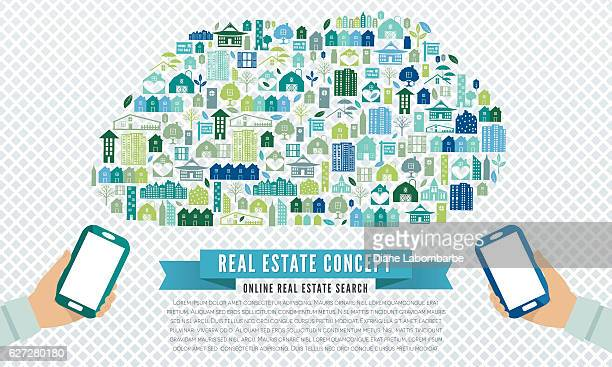 collage of real estate and architecture icons - gewerbeimmobilie stock-grafiken, -clipart, -cartoons und -symbole