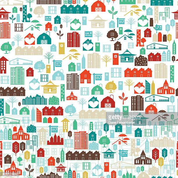 collage of real estate and architecture icons - house exterior stock illustrations, clip art, cartoons, & icons