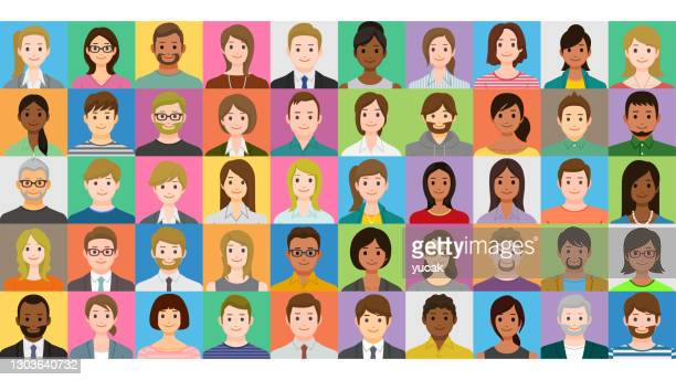 collage of smiling multiethnic people - senior citizen clipart stock illustrations