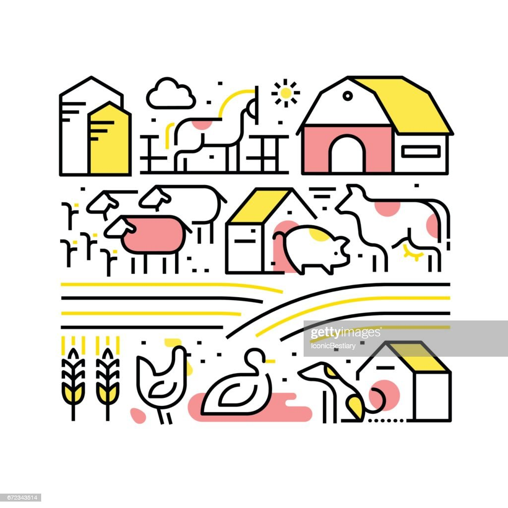 Collage with domestic or farm animals and pets