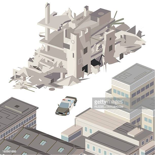collapsed building - house collapsing stock illustrations