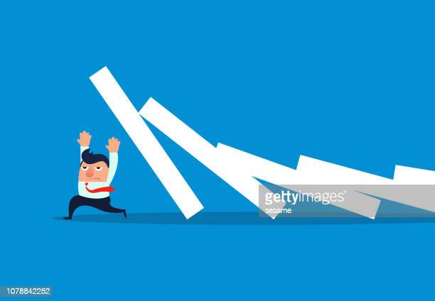 collapsed dominoes scared off businessmen - domino effect stock illustrations