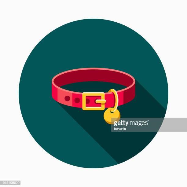 collar flat design pet care icon - collar stock illustrations