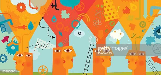 sammle informationen research-konzept - sammlung stock-grafiken, -clipart, -cartoons und -symbole