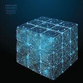 Collected rubik's cube low poly blue