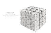 Collected rubik's cube low poly gray