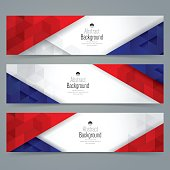 Collection banner design, France flag colors background.