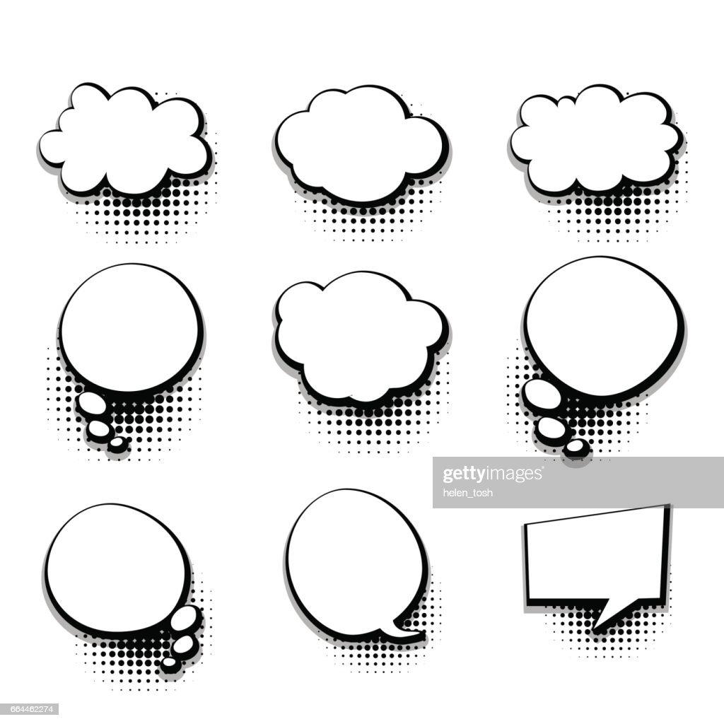 Collection Blank Template Comic Text Speech Bubble Vector Art