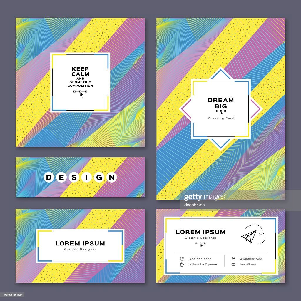 Collection cards invitation, A4 poster, business card, flyer. Geometric background
