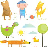Collection cartoon animals and child for kids