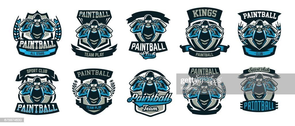 A collection emblems, a person playing paintball holds two guns. Team game, ammunition, shooting range, war. Vector illustration