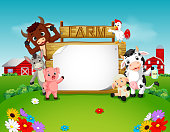 Collection farm animals with wooden sign