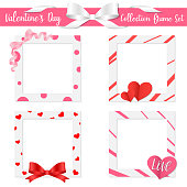 Collection Frame Set Valentine's Day , cute invitation card , lover send love , holiday vector illustration