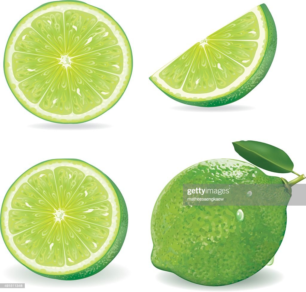 Collection Fresh lime and slice, Isolated on white background.vector