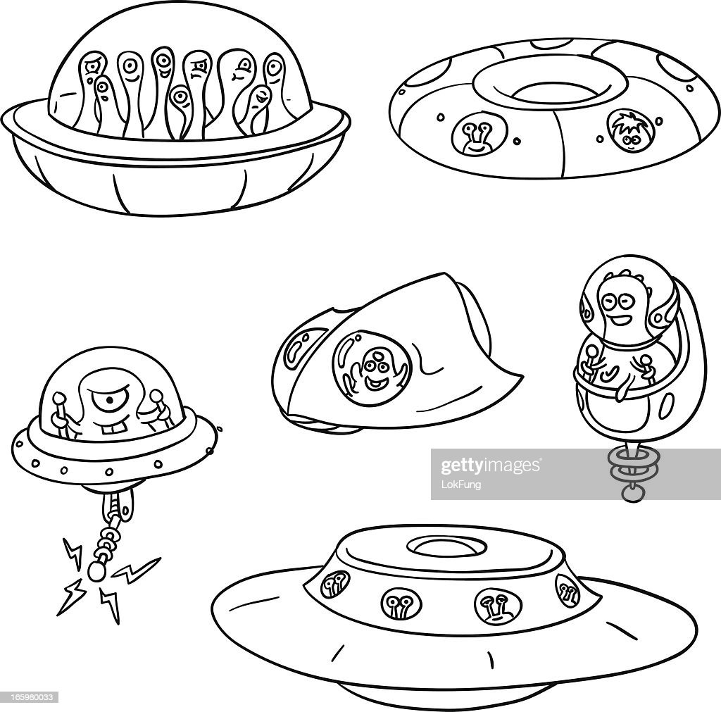 UFO collection in black and white