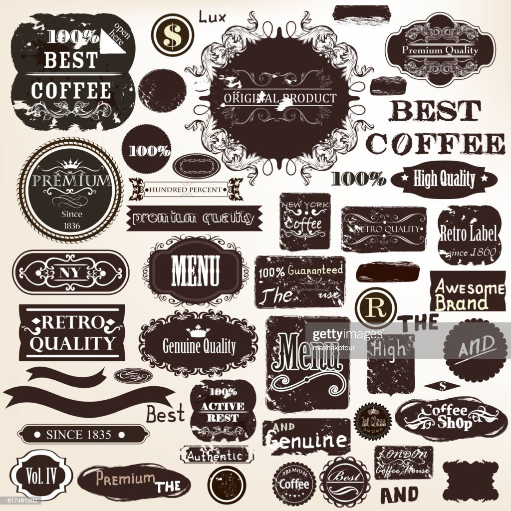 collection labels set premium quality in grunge style