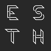 Collection letters S, T, E, H identity logo monogram, overlapping thin lines shape, set individual marks