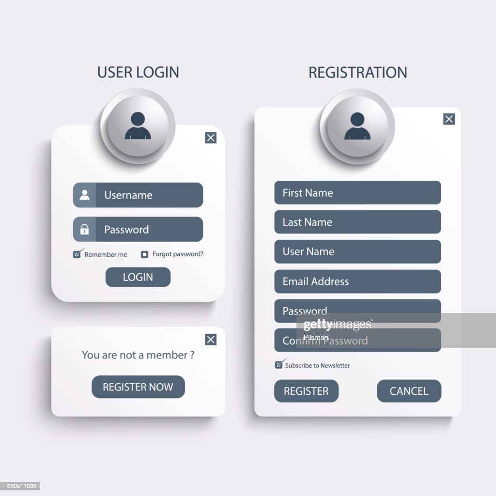 Collection login and register web screen template