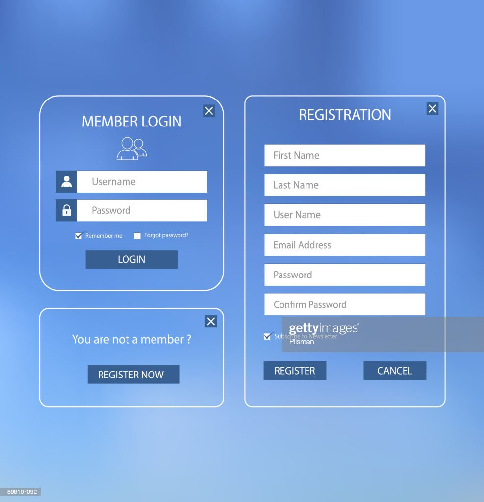 Collection login and register web screen with blue design template