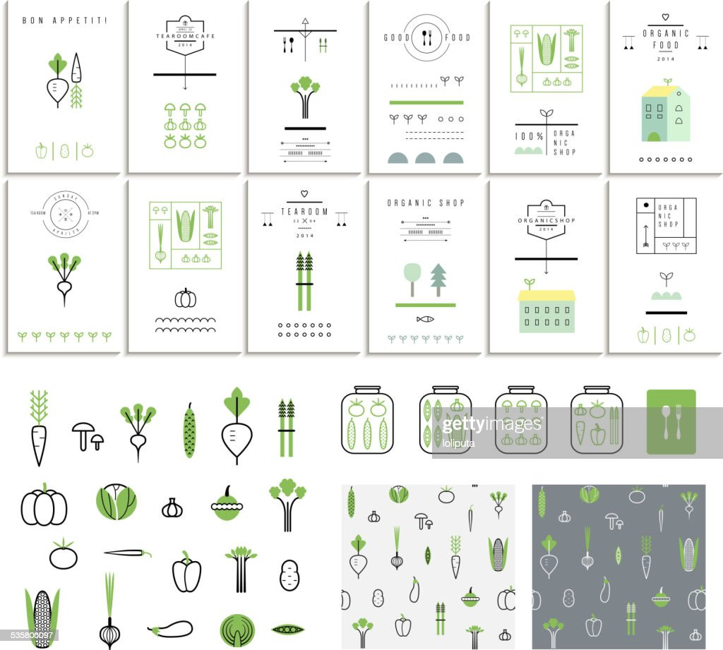 Collection of 12 eco cards. Vegetables. Icons. Two seamless patterns