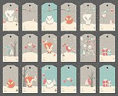 Collection of 18 Christmas gift tags with foxes
