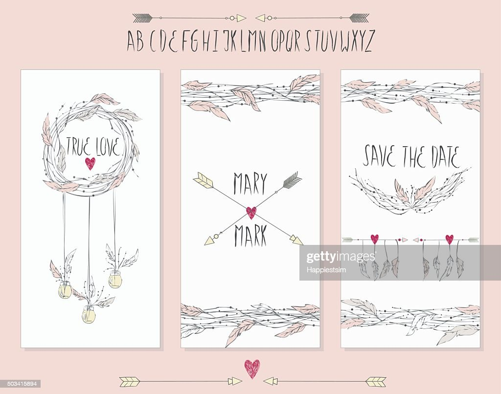 Collection of 3 cute card templates.