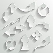 Collection of 3D white arrows on white background