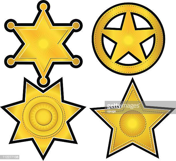 collection of 4 gold badges - sheriff stock illustrations