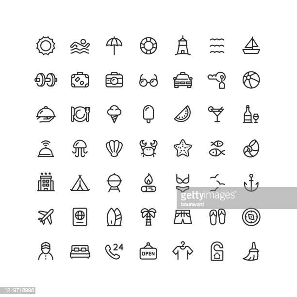 collection of 49 travel summer hotel outline icons - aquatic sport stock illustrations