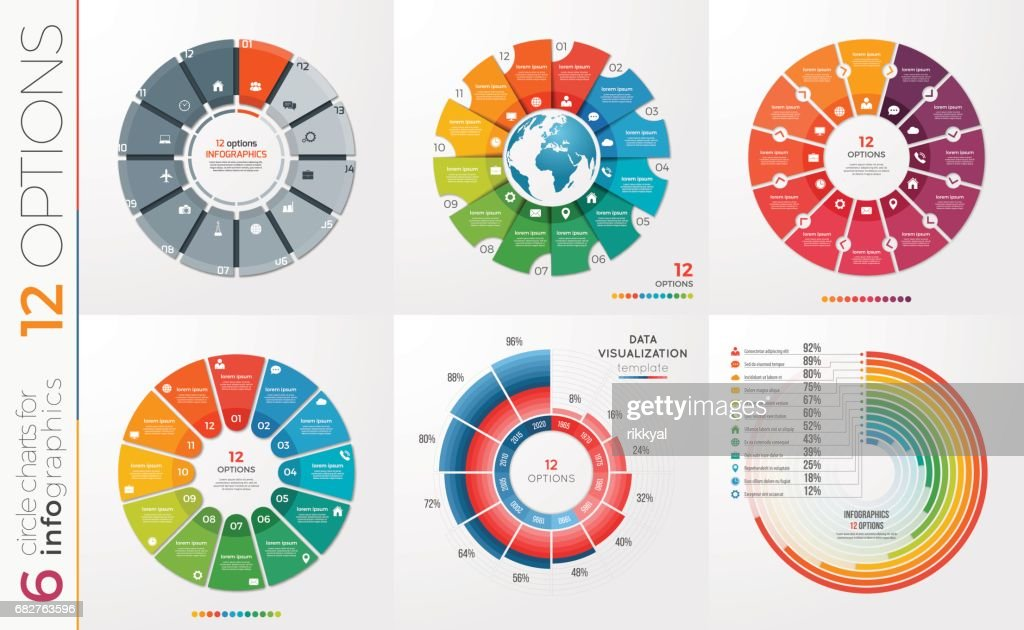 Collection of 6 vector circle chart templates 12 options.