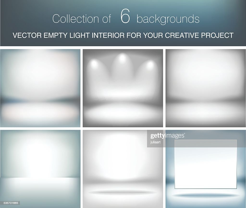Collection of 6 vector empty light interior for your project