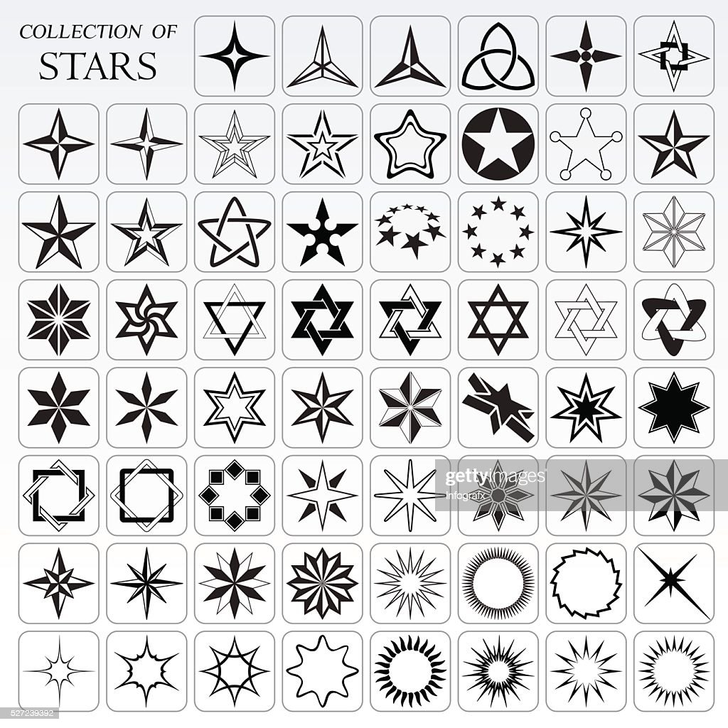 Collection of 62 useful stars and flares
