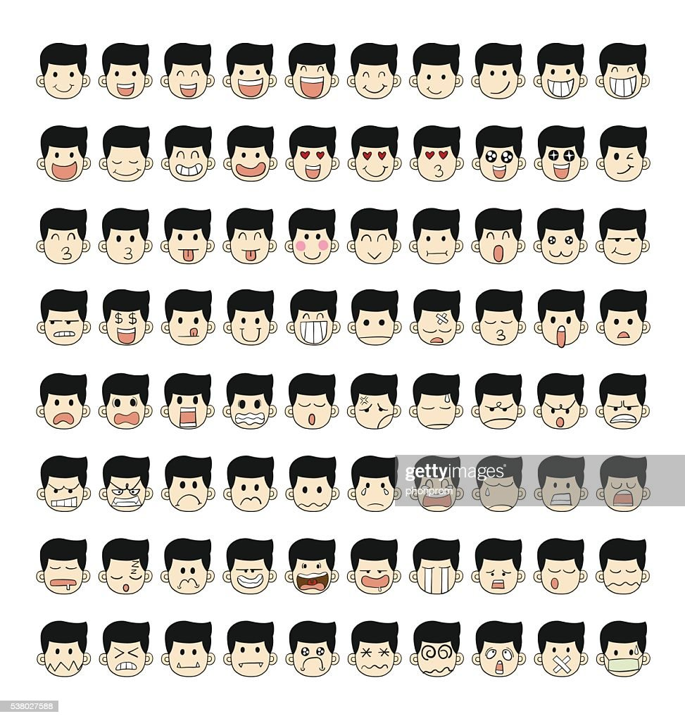 Collection of 80 face emotions