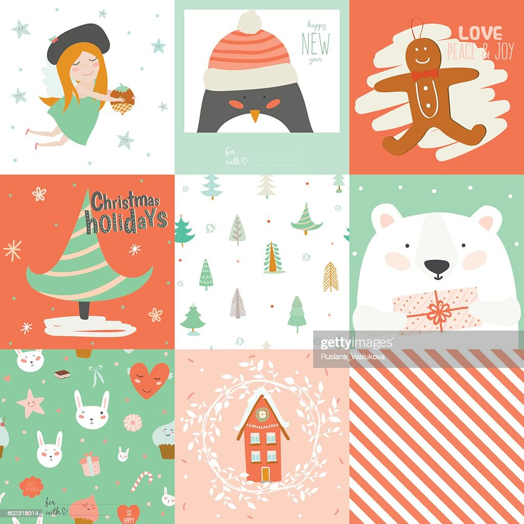 Collection of 9 Christmas gift tags and cards