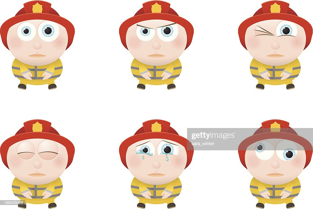 Collection of a big-eyed firefighter with different facial expressions