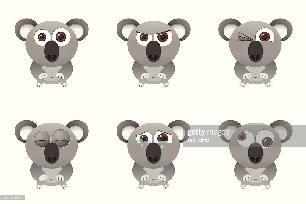 Collection of a big-eyed koala with different facial expressions