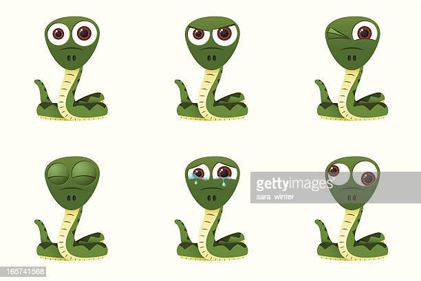 Collection of a big-eyed snake with different facial expressions