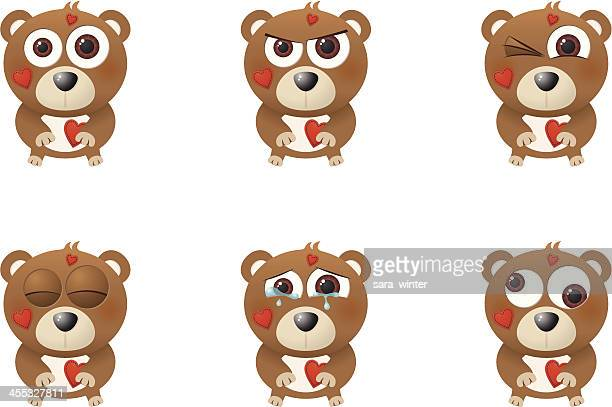 Collection of a big-eyed Valentine's bear with different facial expressions