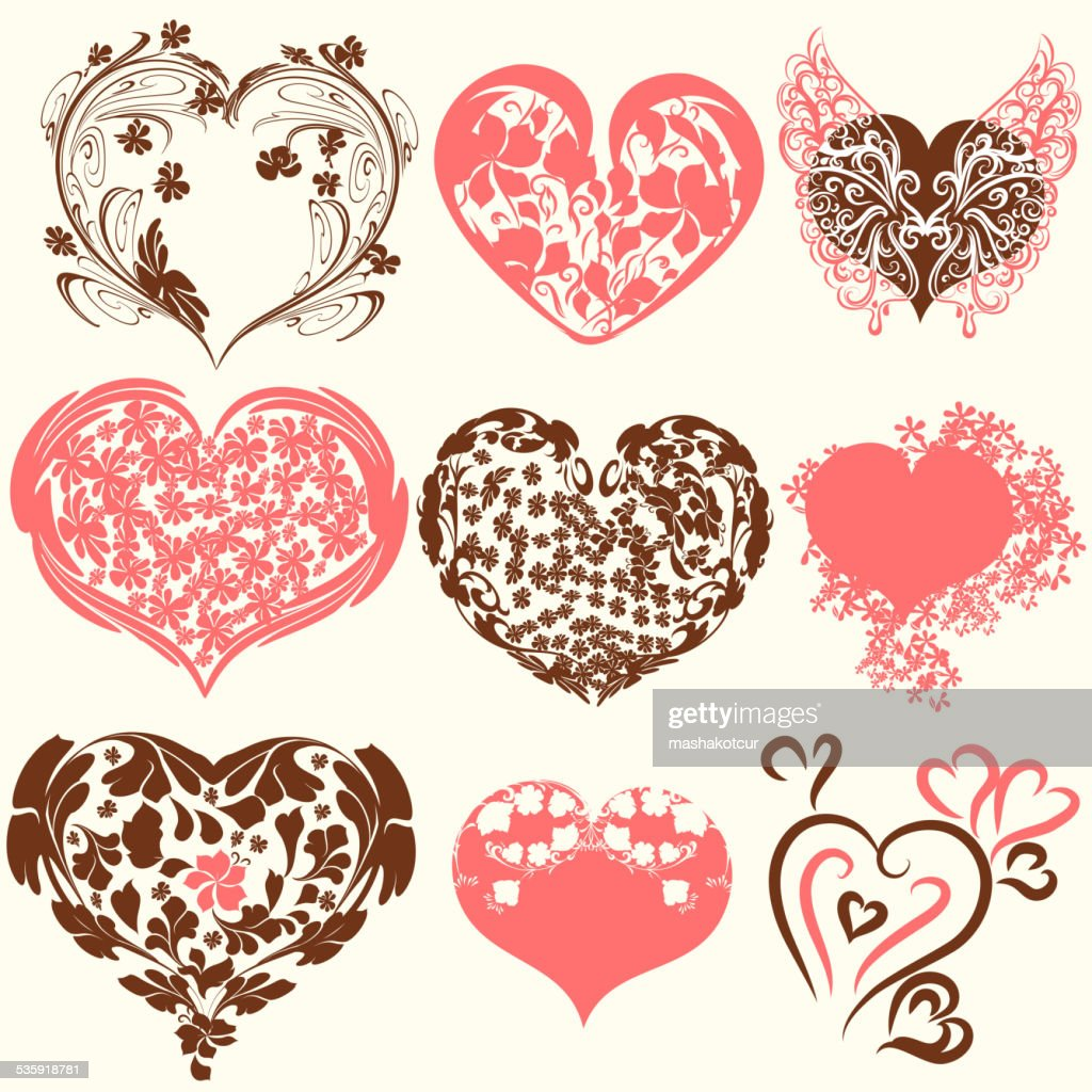 Collection of abstract vector Valentine's Day hearts from swirls : Vector Art