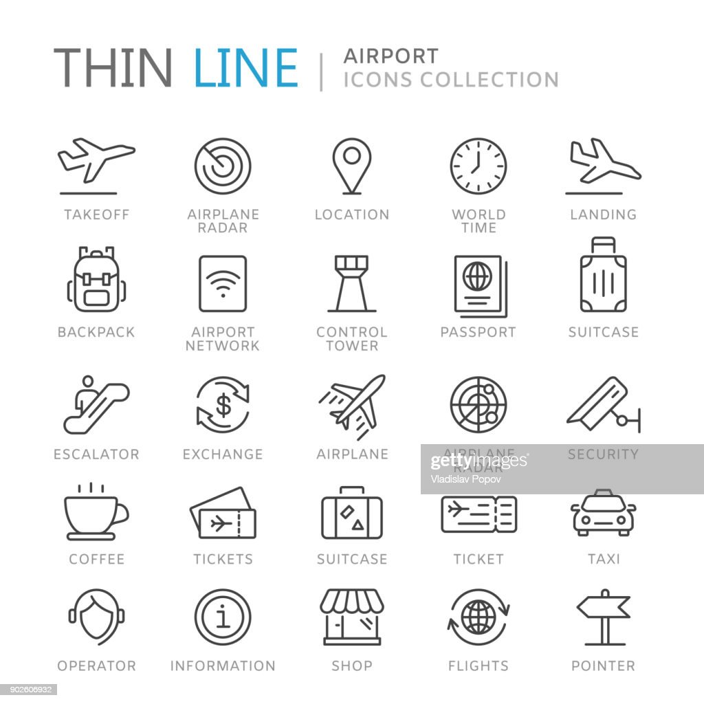 Collection of airport thin line icons