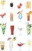 Collection of alcoholic and non-alcoholic drinks and cocktails. Vector.